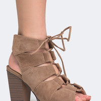 Katana Cut Out Lace Up Heel