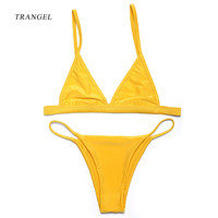 Pure yellow Bikini for women sexy swimwear two pieces top and bottom low waist beach suit summer beach wear halter bathing suits