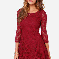 Fine and Dine Wine Red Lace Dress