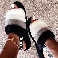 UGG Hight Quality Women Fashion Multicolor Fur Flats Sandals Slippers Shoes-11