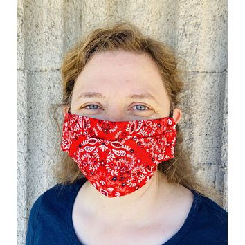 Red paisley Full Face Rectangular Mask | Cloth Mask | Masks with Elastic