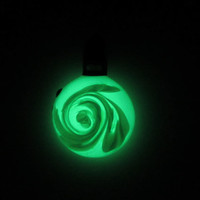 Glass Pendant - Feathers - Glow in the Dark