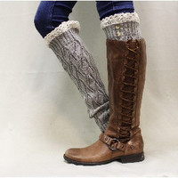 SIMPLY ELEGANT lace leg warmers -silver