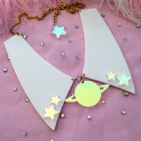 Radiant Saturn Acrylic Collar Necklace
