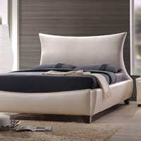 Galton collection pearl faux leather padded headboard footboard and rails queen size modern bed set