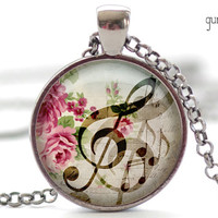 G-Clef Necklace, Music Note Charm, G-Clef Jewelry, Musical Pendant (1174)