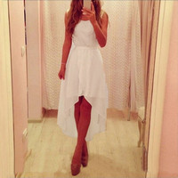 Summer New Sleeveless White Irregular Hem Long Chiffon Dresses Cocktail Party Slim Dresses White = 1945941572