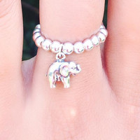 Sterling Silver Ball Bead Elastic Elephant Ring