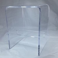 """1/2"""" Clear Acrylic Lucite Plexiglass Shower Bench with Support Bar, NEW"""