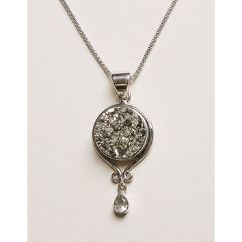 Natural Pyrite and Green Amethyst Silver Pendant