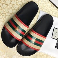 GUCCI New fashion bee more letter print flip flop slippers shoes