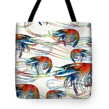 Colorful Shrimp Collage Art By Sharon Cummings Tote Bag