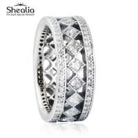 SHEALIA 2016 Vintage Fascination Jewelry Rings With Clear CZ 925 Sterling Silver European Engagement  Wedding Rings For Women
