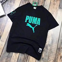 PUMA New fashion letter print couple top t-shirt Black