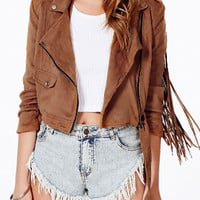 Brown Fringed Back Jacket and Short