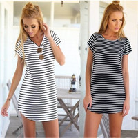 Stripes Printed Round Necked Short Sleeved Women Dress _ 28