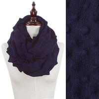 Tri-dimensional Knitted Infinity Scarf - Navy