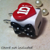 One Direction 1D iphone 4 case Heart Bow Red US USB iPod iPhone 4 Cute Wall Charger