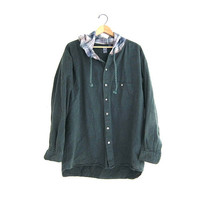 Vintage green hoodie / Grunge Shirt jacket / cotton button up shirt coat. size XL
