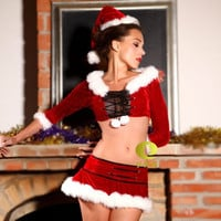 Red Cropped Top and Mini Skirt Santa Costume