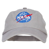 NASA Insignia Embroidered Garment Washed Cap - Grey OSFM