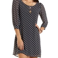 Caged Back Patterned Shift Dress by Charlotte Russe