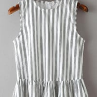 Vertical Striped Peplum Top