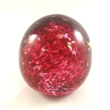 Handmade Art Glass Easter Egg Paperweight, Strawberry Red and Rainbow Dichroic, SECOND