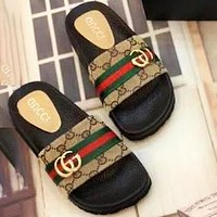 GUCCI Slippers GG Shoes Double G Metal Buckle Red Green Stripe Shoes Khaki