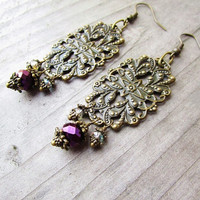 Romantic Bronze Filigree Floral Pendant Earrings with Dangly Purple & Teal Crystals
