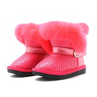 Toddler Girls Winter Boots with Real Fur Decorate Girls Boots Plush Waterproof PU leather Winter Shoes