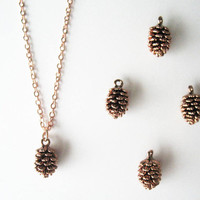 Rose gold pine cone necklace. Rose pinecone Pink gold necklace winter necklace Forest necklace Woodland necklace Rose Gold Filled Necklace