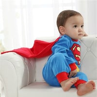 Baby Boy Romper Superman Long Sleeve with Smock Halloween Christmas Costume Gift Boys Rompers Spring Autumn Clothing = 1946404868