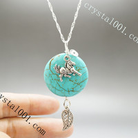 Natural turquoise necklace energy horse necklace leaf charm necklace  chakra stone necklace horse necklace healing necklace turquoise  stone