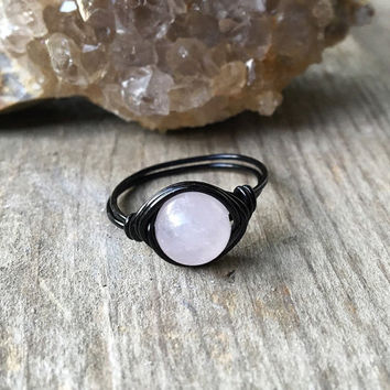 Ring, wire ring, Rose quartz ring, stone ring, wire wrapped ring, custom ring, healing stones and crystals, pink stone ring, chakra ring