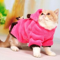 Wildforlife Ultra Warm Cat Coral Fleece Winter Costume with Hood (Rose, M)