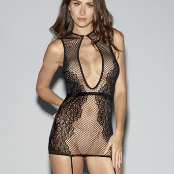 Fishnet And Lace Garter Dress