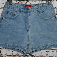90s High Waist Denim Shorts Esprit Festival Boho Hipster Grunge Light Wash 28 S M 80s Jean Waisted Distressed Pastel Goth