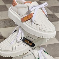 DIOR D letter new shell-toe white shoes with round toe thick bottom fashion all-match sneakers
