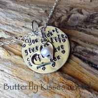 "Hand Stamped ""You didn't give me life, life gave me you"" - Step Mom, Bonus Mom, Foster Mom, Adoptive Mom necklace, 2nd Mom, Second Mom"