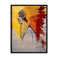 """Reproduction of Vintage Art Nouveau painting """"Indien Sioux"""" by Alphonse Mucha 16"""" x 22"""""""