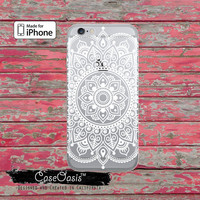 White Mandala Line Art Henna Tattoo Floral Cute Clear Rubber Phone Case For iPhone 6 and iPhone 6 Plus + Transparent Crystal Custom Case