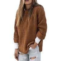 Harajuku Autumn And Winter 2018 Coat Women Warm Turtleneck Sweater Casual Loose Long Sleeve Khaki Sweater Pullover Cable Knitted