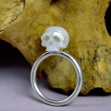 Hand Carved White Pearl Skull Sterling Silver Ring