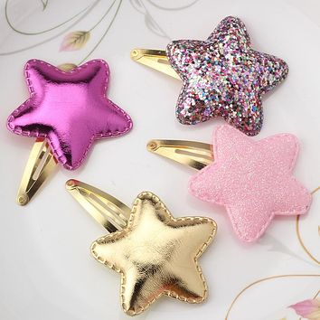 Summer Style Metal Color Children Shiny Star Hairgrips Baby Hairpins Girls Hair Accessories Heart Star Hair Clip