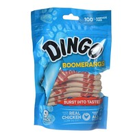 Dingo Boomerangs Rawhide Free Dog Treats with Real Chicken