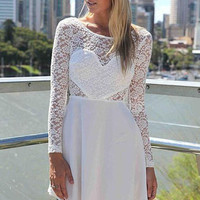 Backless Long Sleeve White Lace Party Dress