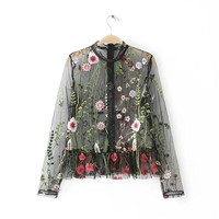Sexy Mesh Flower Embroidery Tops Women Blouses 2017 Woman Shirt Black Summer Tops Womens See through ClothingCY0001