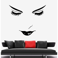 Wall Vinyl Sexy Girl Eyes Make Up Haricut Barbershop Decor Unique Gift z3748