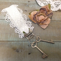 Lace Key fob wristlet - white key chain